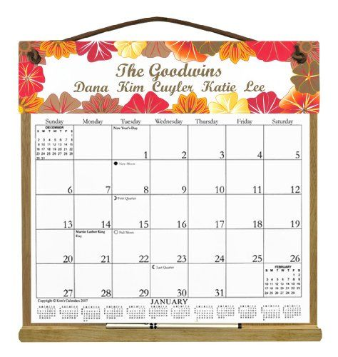 Custom Personalized Wooden Refillable Wall Calendar Holder