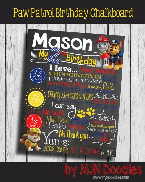 Paw Patrol Birthday Chalkboard Everest Chase Puppy Dogs Blue Yellow Red Birthday Second Birthday Photo Prop Digital File Printable