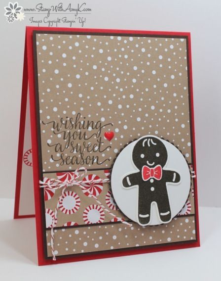 I used the Stampin' Up! Cookie Cutter Christmas and Candy Cane Christmas stamp…