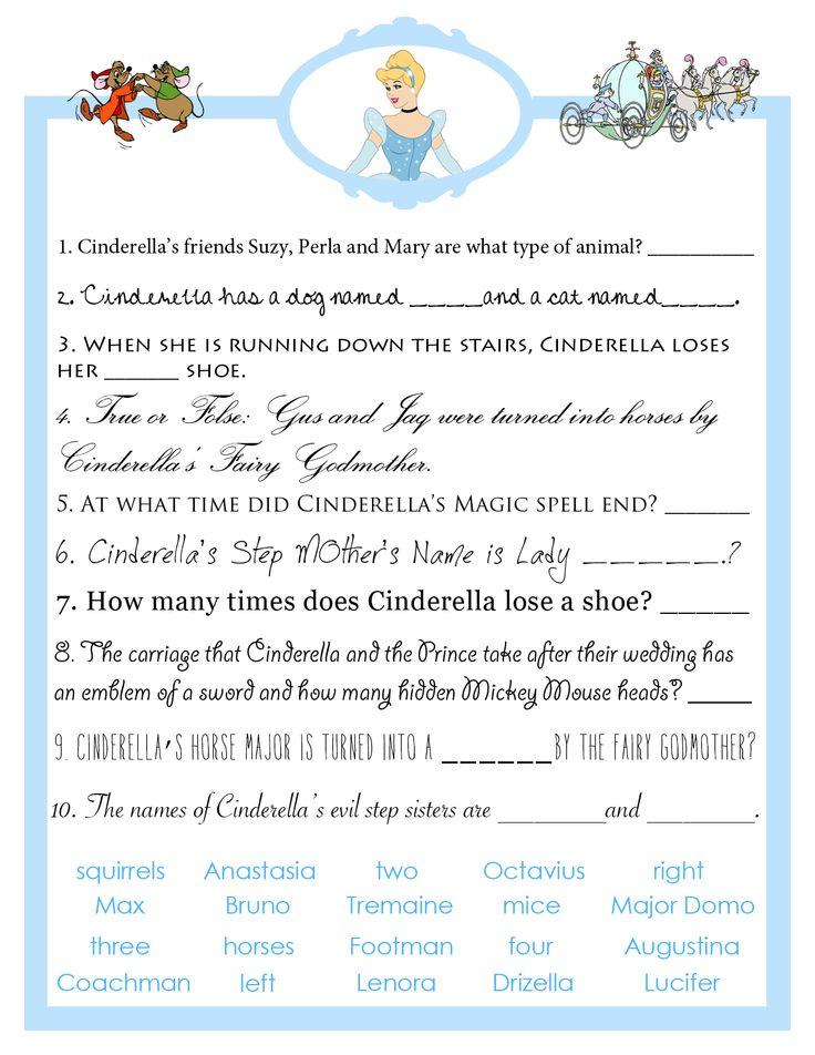 bridal shower games | Cinderella bridal shower trivia game based on Disney