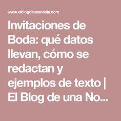 Invitaciones de Boda: qué datos llevan, cómo se redactan y ejemplos de texto | El Blog de una Novia
