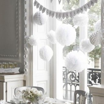 White Paper Pom Poms x 3 - 15 inch Wedding Party Christening Decoration DIY Kit