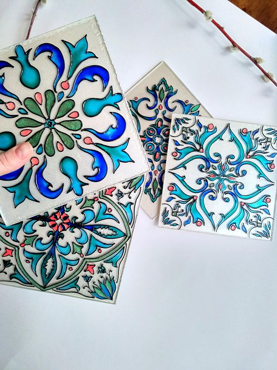 Glass Cup Coaster, Kitchen Coasters, Hand Painted Glass, Kitchen decor, East style, Gift for mother, Colorful tea cup  Glass stand - this wonderful element of the kitchen decor. In addition, it allows you to put on the countertop cup, cups and glasses, without messing with the surface.  ∞ Dimensions: 5.9x5.9 or 15x15cm , 4 mm thick ∞ Item may be more shiny than on picture ∞ Please keep in mind that this is a hand-crafted artwork, each piece is one-of-a-kind and the item you will receive…
