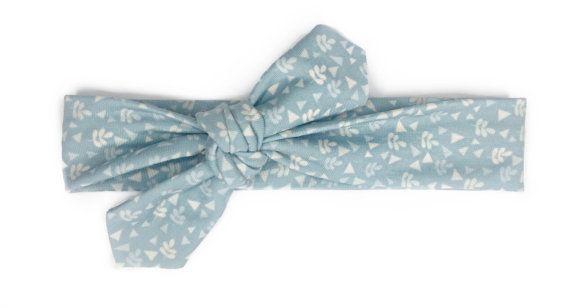 Blue Geometric Print Headband / Jersey Knit Headband / Top Knot Headband / Floral Headband / Baby Girl Gift / Infant Headband / Baby Bow