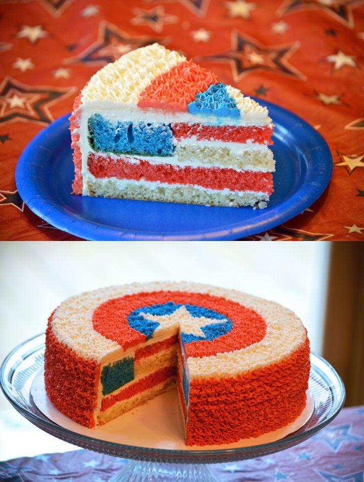Aaaaaaaaaaaah!!!!!! Captain America cake with an American Flag inside. Love this!! <3333333