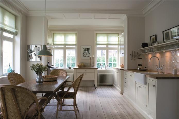 An inspirational image from Farrow and Ball Kitchen with walls in Strong White Modern Emulsion, units in Wimborne White Estate Eggshell