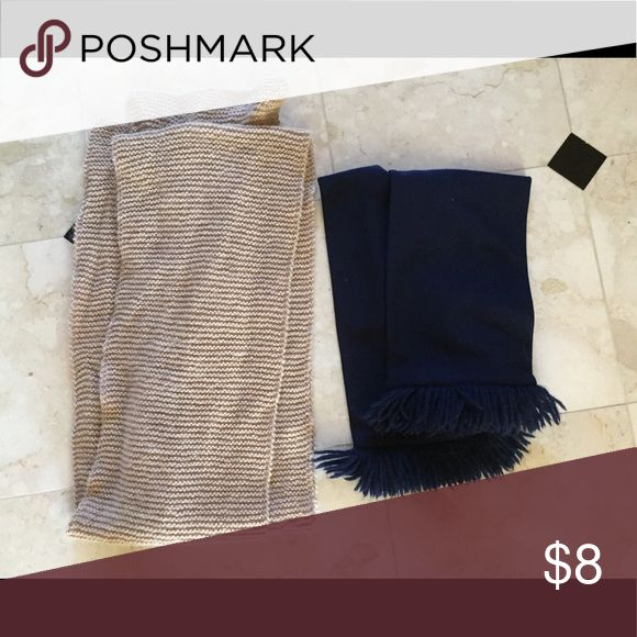 2 knit scarves Dark blue and beige scarves. Both for $8 or $5 each Brandy Melville Accessories Scarves & Wraps