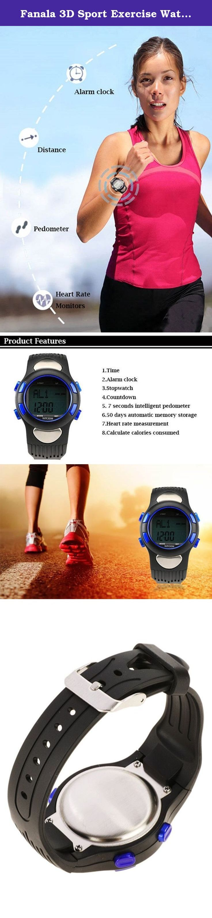Fanala 3D Sport Exercise Watch Pulse Heart Rate Monitor Pedometer Calories Counter. Features: Dial material: Tempered Glass Shell Material: Metal, Plastic Band material: Rubber Color: Blue Type: Sport watch Shape: Round Display: Digital Gender: Unisex Feature: Easy to operate Design: Multifunctional design Age group of application: Adult Backlight: EL or LED LCD display time and date Heart rate measuring range: 30 to 200 50 days automatic memory storage step function Modes: Time mode…