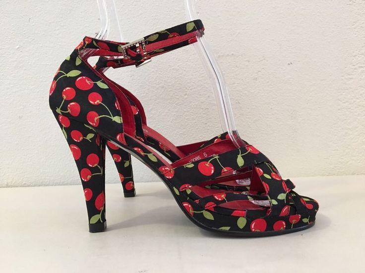 N.Y.L.A. Women 6 Black Red Cherry Fabric Leather Platform Heel Rockabilly Shoes. #NYLA #Strappy #ClubwearFormal
