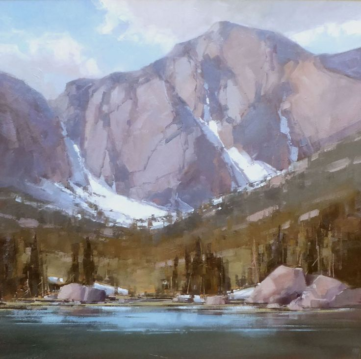 "David Mayer: ""High Country Water Mills Lake"" 24 x 24"" original framed oil"