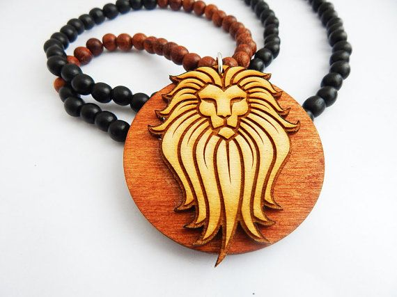 Wooden African Lion Necklace Wood Jewelry Lion Pendant Mens