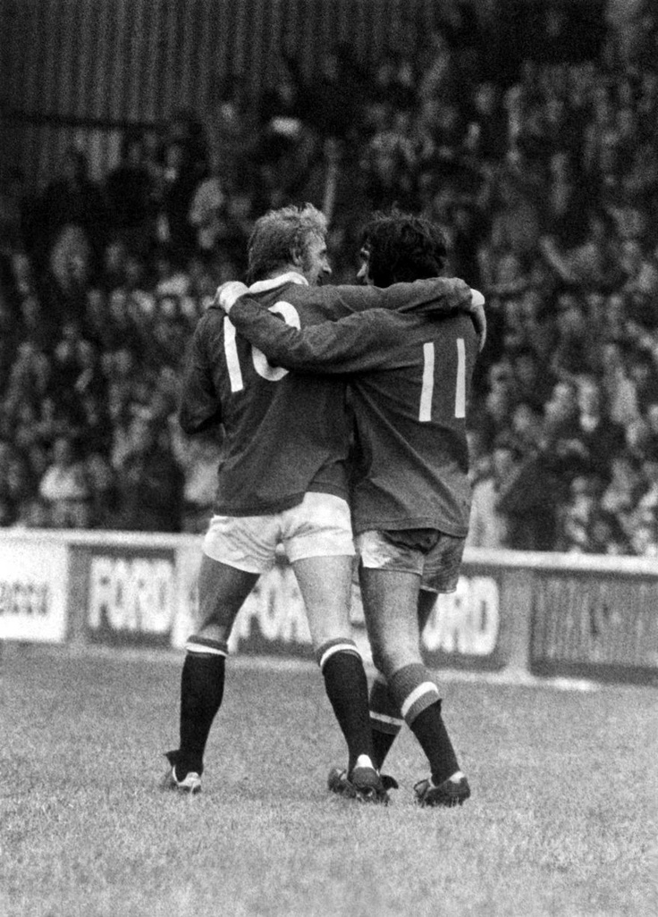 George Best and Denis Law celebrate after Law had scored Uniteds second goal, September, 1971