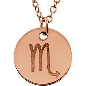 http://www.xpressionportal.com/scorpio-gift-ideas/  Cool, Mysterious and Alluring Scorpio Gift Ideas Powerful, confident and mysterious both Scorpio men and women enjoy receiving gifts.  Therefore the best Scorpio gift ideas are ones that actively play into their often dark personality.  For this reason Scorpios will enjoy gifts that stimulate the mind and arouse the senses.  Continue reading below to discover the  14kt Rose Scorpio Zodiac Necklace, 85856 , 14Kt Rose , Scorpio , Zodiac Ne