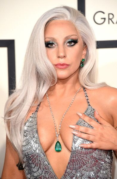 Lady Gaga Gemstone Pendant  Lady Gaga adorned her low neckline with a gorgeous emerald pendant necklace by Lorraine Schwartz.