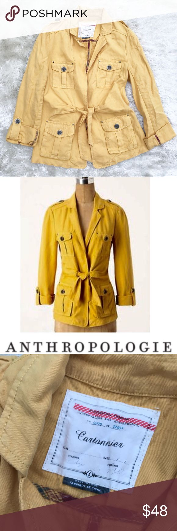 ANTHROPOLOGIE Cartonnier Mustard Utility Jacket Anthropologie Cartonnier Yellow Utility Jacket. Mustard colored. Quad-pockets on front panels. Adjustable length sleeves. Synced back panel for better waist definition. Excellent condition! 🧥 Anthropologie Jackets & Coats Utility Jackets