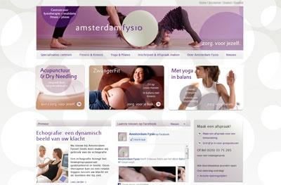Website gebouwd voor Amsterdam Fysio, ontwerp door Yocolo.
