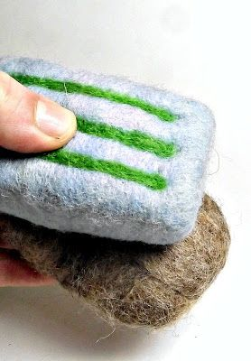 tips on how to felt soap :). This video is worth watching she makes a really sweet felted flower embellishment on it