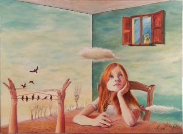 My own room #oil #canvas #traditional #painting #surreal #child #childhood #memory