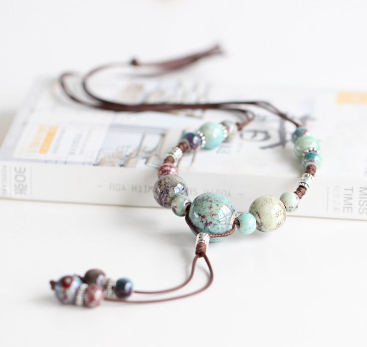 Women's Ceramic Bead Necklace   Beaded Tassel Necklace   Natural Themed Necklace   iiTrends