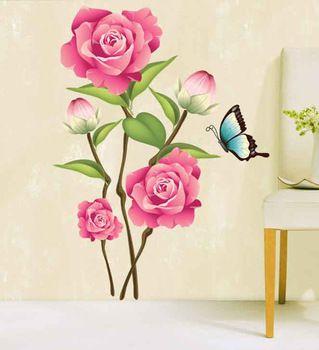 Verwijderbare muurstickers ay713 drie generaties woonkamer tv/bank achtergrond pioen bloem vlinder decoratie muurschildering sticker