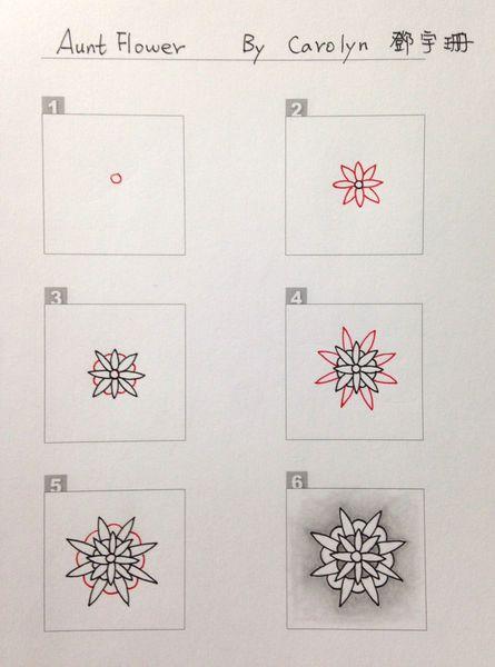 Aunt Flower by Carolyn #Zentangle tangle pattern