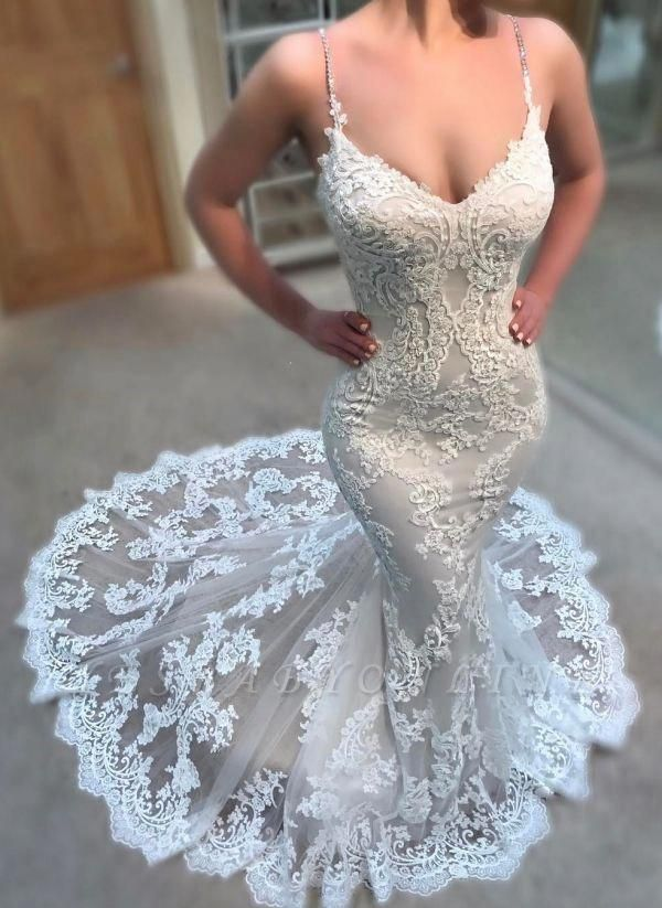 Glamorous Spaghettis-Straps Lace Wedding Dresses | Lace Appliques Mermaid Bridal Gowns | Yesbabyonline.com #backlesswedd…