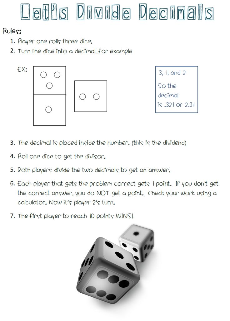 A FREE Math Center Game for Dividing Decimals.  All you need is dice.