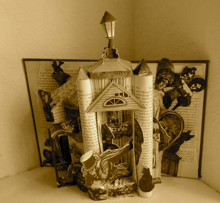 Edgar Allan Poe Altered Book Art. $250.00, via Etsy.  Talk about clever!