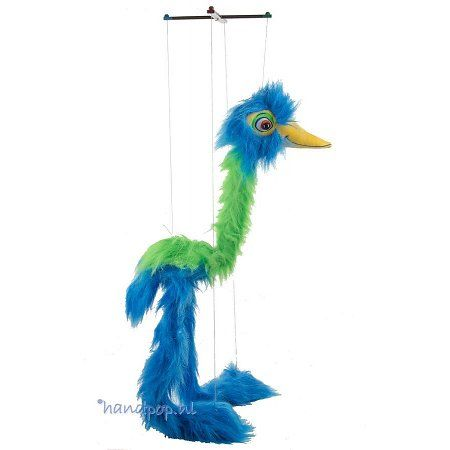 The Puppet Company marionet grote vogel blauw/groen