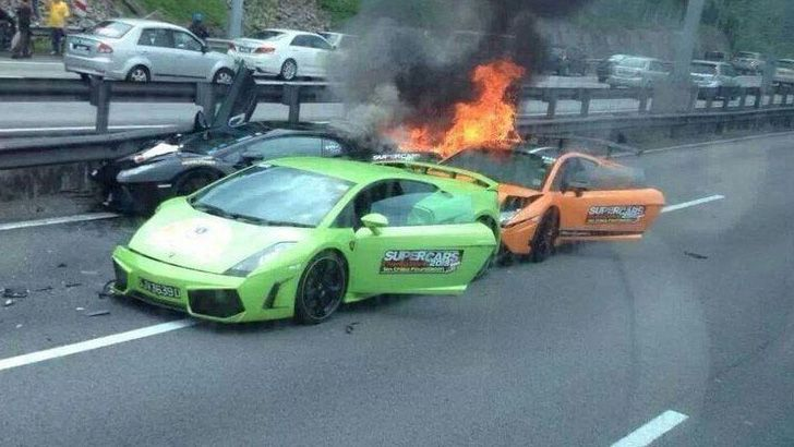 2013 super car rally ends badly as 3 Lamborghinis crash in Europe.
