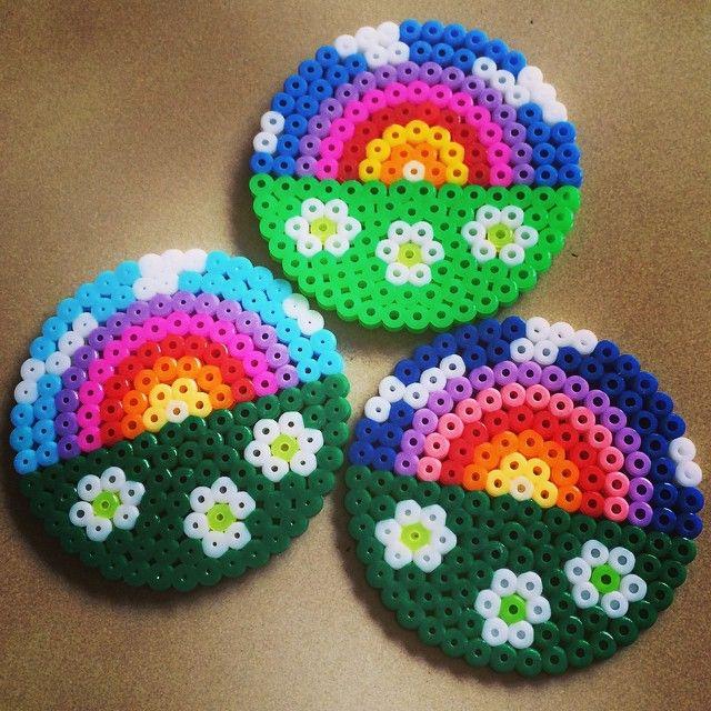 Rainbow coaster set perler beads by missy_kiwi