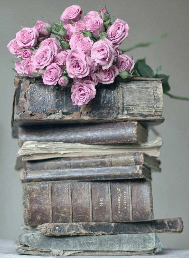 My two passions, reading well loved print books and flowers from a beautiful garden. Sigh. From former pinner, but ditto!                                                                                                                                                     More