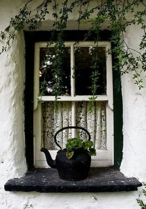 There is something very wonderful about this white house and black window with just the black iron kettle.