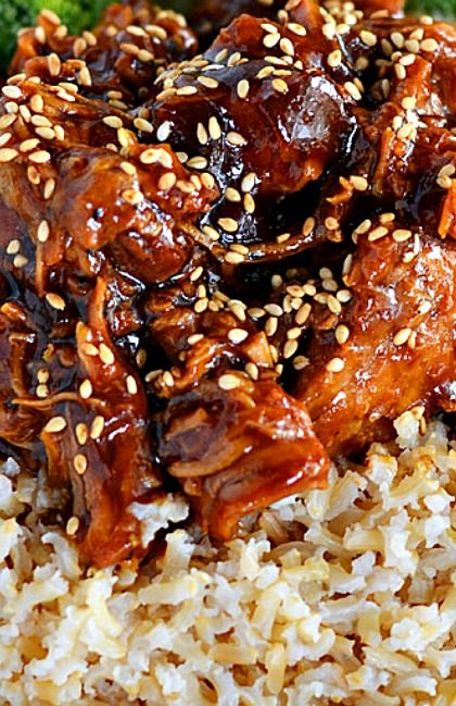 Honey Sesame Crock Pot Chicken Recipe ~ simply amazing. So yummy, so flavorful, and so darned easy.