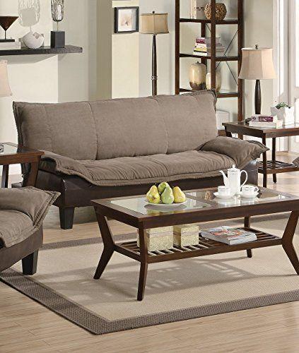 1PerfectChoice Ashington Collection Dark Brown Futon Sofa Bed