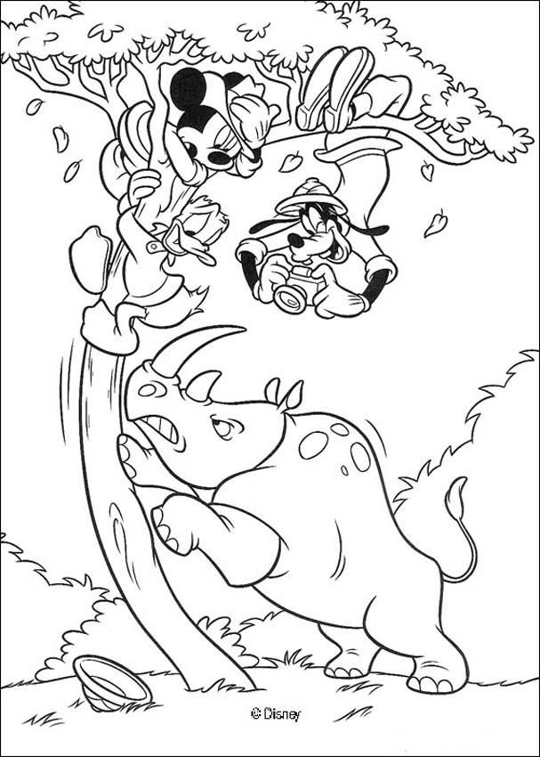 Mickey Mouse Donald Duck Goofy Goof And The Rhinoceros Coloring Page