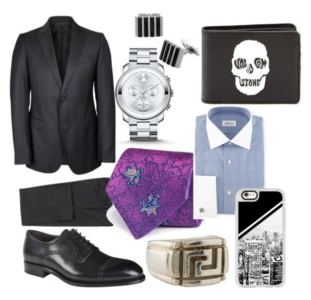 """Xicarin's work clothes"" by xicanti on Polyvore featuring Movado, Armani Collezioni, Brioni, Turnbull & Asser, Volcom, Casetify, Versace, men's fashion and menswear"