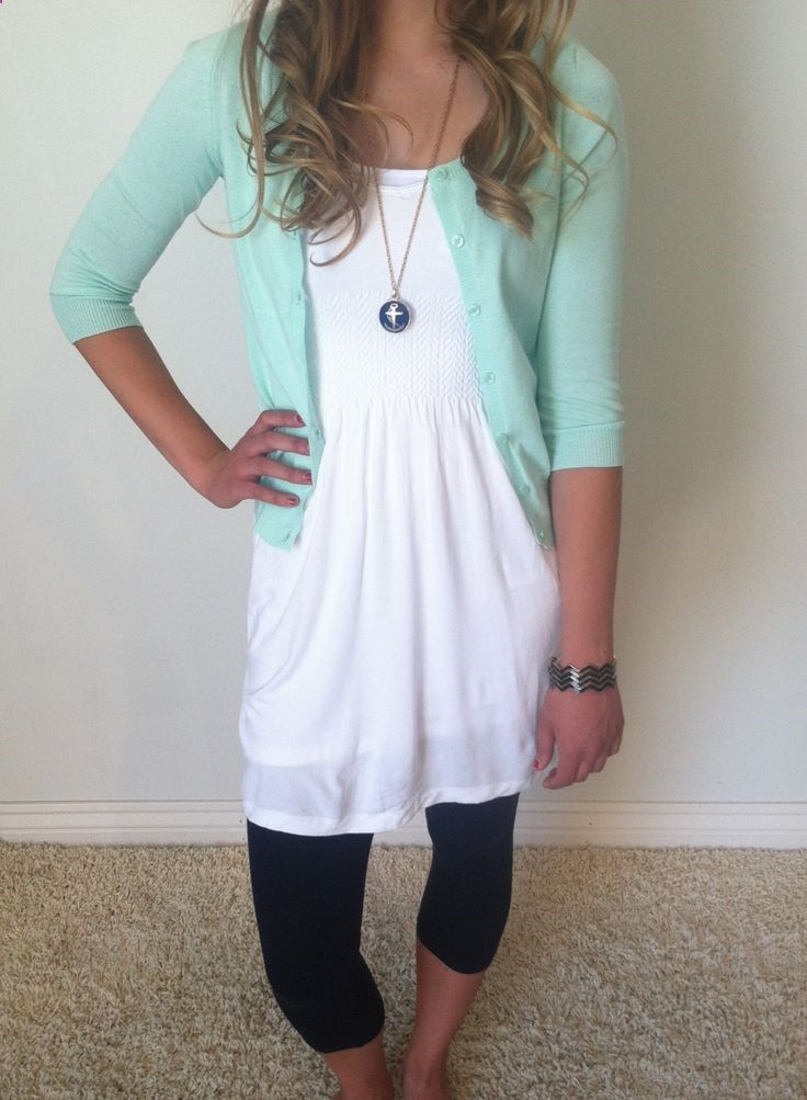 Mint cardigan with white dress and leggings