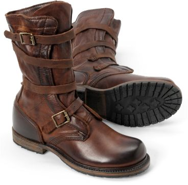 "GOT IT!! Jennifer tanker boot: ""Fastened with straps and buckles instead of traditional laces, the original tanker boots were designed to help keep a soldier's feet clear of military machinery and equipment. Inspired by those worn by tank crewmen in the Second World War, our women's tanker boot features refined hardware, designed on a smaller scale"" at Vintage Shoe Company I WANT A PAIR!!!!"