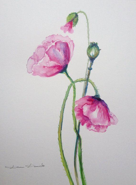 Aquarelle Originale Dam Domido Pavots roses par DamDomidoGallery