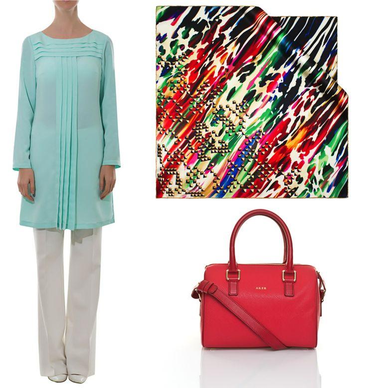 Mint yeşili ve kırmızı kontrastı ile canlı bir kombin oluşturarak gün boyu enerji dolu hissedin.   Tunik için : http://bit.ly/AkerTunik15299 Çanta için : http://bit.ly/AkerÇantaC182 Eşarp için : http://bit.ly/PC6297 #Aker #Eşarp #Scarf #Giyim #Moda #Fashion #kombin #cacharel #pierrecardin #çanta #bag #kap #tunik