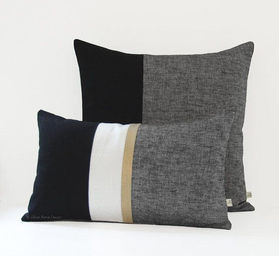 Gold Stripe and Chambray Decorative Pillow Cover (Set of 2) 12x20 and 20x20 - Modern Home Decor by #JillianReneDecor