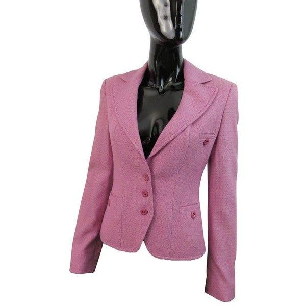 Pre-owned Elegant Blazer (39 KWD) ❤ liked on Polyvore featuring outerwear, jackets, blazers, pink, one-button blazer, strenesse blue, purple blazer, purple jacket and purple blazer jacket