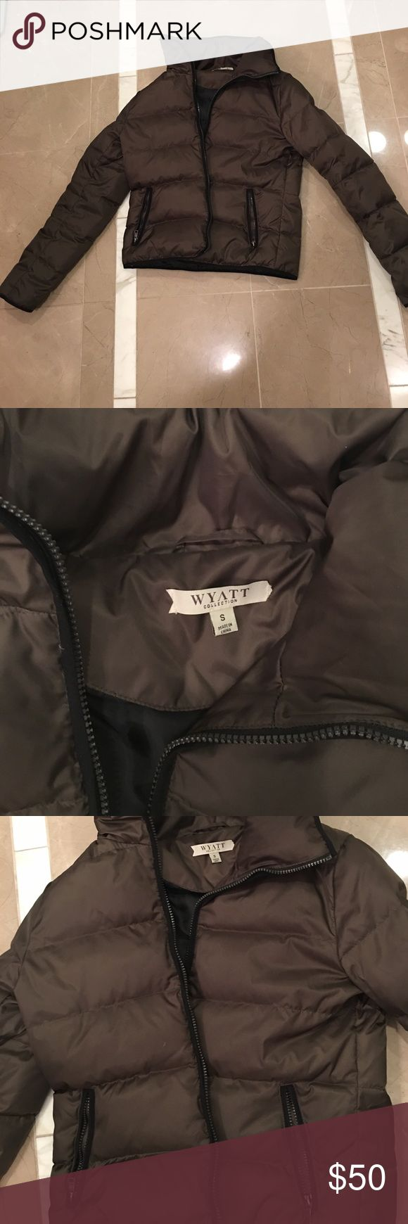 Olive Quilted Puffer Jacket Olive Down Filled Puffer Jacket. Beautiful olive color. Very lightweight and great for transitional weather. Size S. in excellent condition, only worn a few times. Open to offers. Jackets & Coats Puffers