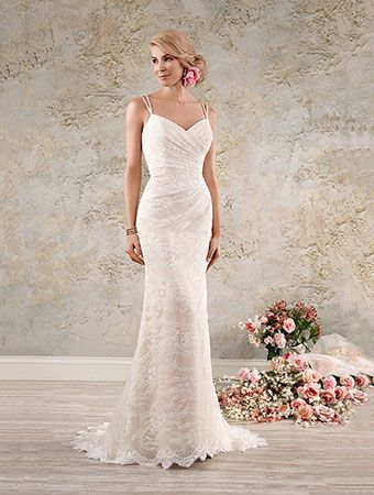 Alfred Angelo Style 8559: fit and flare lace wedding dress with double spaghetti straps
