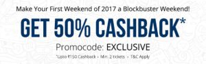 Paytm-Get 50% Cashback Upto Rs.150 on Booking 2 Movie Tickets
