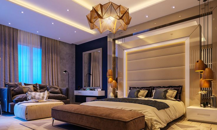 Glamorous-bedroom-panelled-grey-headboard-origami-amber-feature-chandelier Glamorous-bedroom-panelled-grey-headboard-origami-amber-feature-chandelier