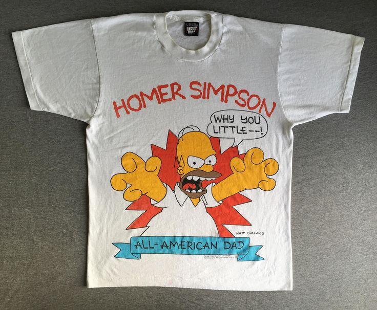 HOMER SIMPSON Shirt Vintage 1990/ 90s All-American Dad The Simpsons Bart Screen Stars Tshirt/ Matt Groening Cartoon TV UsA Large by sweetVTGtshirt on Etsy