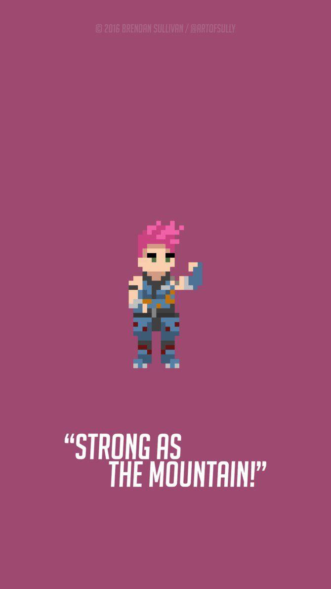 Overwatch Zarya Pixel Art background (for phones). http://i.imgur.com/YF2CUF5.jpg