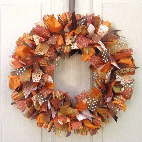 Fall Wreath, Ribbon Door Wreath for Fall Decor, Fabric Wreath, Autumn Front Door Wreaths via Etsy: